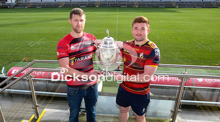 Monday 11th November 2019<br /> <br /> Pictured L-R are City of Armagh RFC 2s Captain John Faloon and Ballyclare RFC Captain Dave Clarke pictured at the Semi-Final draw of this seasons MMW Legal Ulster Junior Cup which was held at Kingspan Stadium, Ravenhill Park, Belfast, Northern Ireland. Photo credit - John Dickson DICKSONDIGITAL