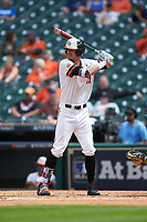 Clayton Harp (47) of the Sam Houston State Bearkats at bat against the Vanderbilt Commodores in game one of the 2018 Shriners Hospitals for Children College Classic at Minute Maid Park on March 2, 2018 in Houston, Texas. The Bearkats walked-off the Commodores 7-6 in 10 innings.   (Brian Westerholt/Four Seam Images)