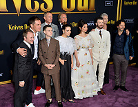 "LOS ANGELES, USA. November 15, 2019: Rian Johnson, Michael Shannon, Jaeden Martell, Katherine Langford, Daniel Craig, Ana de Armas, Don Johnson, Chris Evans, Jamie Lee Curtis & Alec Berg at the premiere of ""Knives Out"" at the Regency Village Theatre.<br /> Picture: Paul Smith/Featureflash"