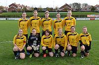 20151128 - PITTEM , BELGIUM : Egem Team pictured with Stefanie Bintein (1) , Lisa Weyts (3) , Sharon Vervaeke (5) , Annelien Van Autreve (6) , Elodie Cnockaert (7) , Charlotte Laridon (9) , Eva Verhulst (10) , Angelique Veracx (11) , Steffie Verkindere (15) , Ellen Stichelbaut (16) and Tiffany Declercq (17) during a soccer match between the women teams of DVK Egem Ladies and KVK Svelta Melsele  , during the eleventh matchday in the Second League - Tweede Nationale season, Saturday 28 November 2015 . PHOTO DAVID CATRY