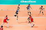 Middle blocker Mai Okumura of Japan (L) spikes the ball during the FIVB Volleyball World Grand Prix match between Japan vs Russia on 23 July 2017 in Hong Kong, China. Photo by Marcio Rodrigo Machado / Power Sport Images