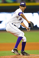 Relief pitcher Santos Rodriguez #27 of the Winston-Salem Dash in action against the Kinston Indians at BB&T Ballpark on June 4, 2011 in Winston-Salem, North Carolina.   Photo by Brian Westerholt / Four Seam Images