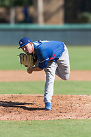 Los Angeles Dodgers relief pitcher Bryan Warzek (40) follows through on his delivery during an Instructional League game against the Oakland Athletics at Camelback Ranch on September 27, 2018 in Glendale, Arizona. (Zachary Lucy/Four Seam Images)