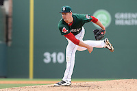 Pitcher Justin Haley (38) of the Greenville Drive in a game against the Charleston RiverDogs on Sunday, May 19, 2013, at Fluor Field at the West End in Greenville, South Carolina. Charleston won, 9-7. (Tom Priddy/Four Seam Images)