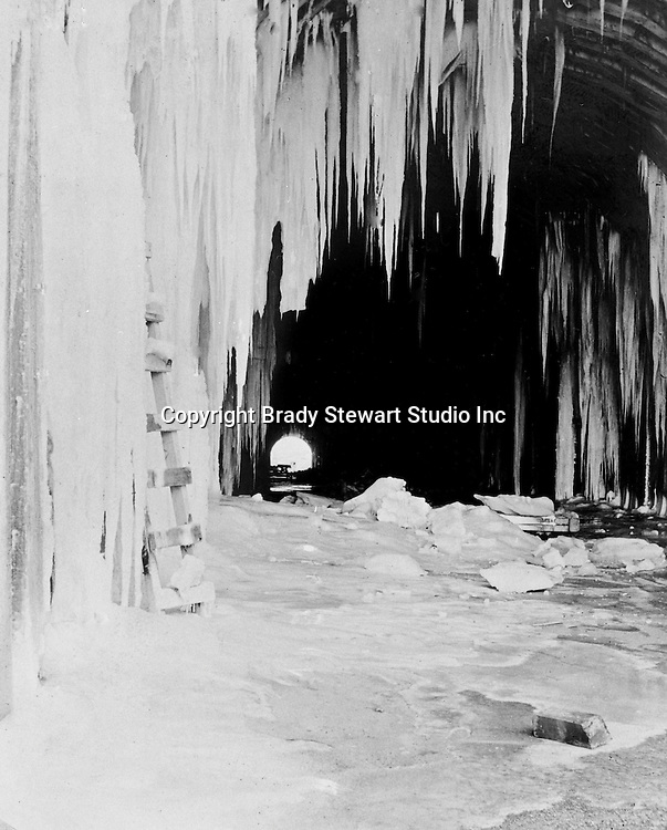 Hopedale OH:  View of the entrance of the Spellacy Tunnel during the winter. The Pittsburgh, Toledo, and Western Railroad Company, owned by the famous George J. Gould,  hired Brady Stewart to document the track and tunnel construction between Hopedale Ohio, and downtown Pittsburgh.