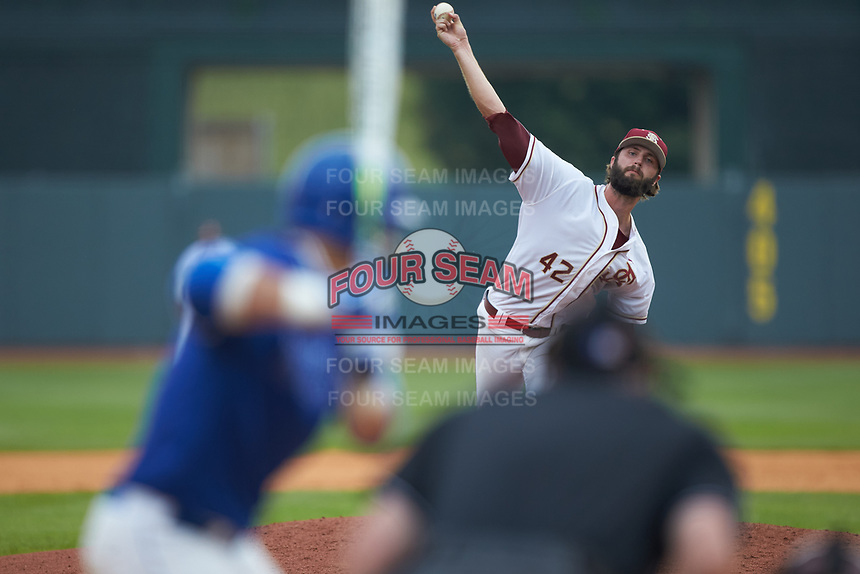 Florida State Seminoles relief pitcher Jim Voyles (42) in action against the Duke Blue Devils in the first semifinal of the 2017 ACC Baseball Championship at Louisville Slugger Field on May 27, 2017 in Louisville, Kentucky. The Seminoles defeated the Blue Devils 5-1. (Brian Westerholt/Four Seam Images)