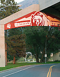 The Montana Grizzlies sign over Campus Drive in missoula Montana