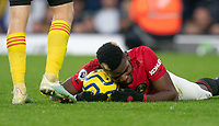 Paul Pogba of Man Utd holds onto the ball during the Premier League match between Watford and Manchester United at Vicarage Road, Watford, England on 22 December 2019. Photo by Andy Rowland.