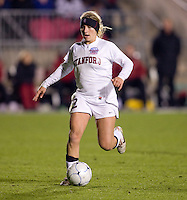 Camille Levin (2) sprints upfield with the ball during the second game of the NCAA Women's College Cup at WakeMed Soccer Park in Cary, NC.  Stanford defeated Boston College, 2-0.