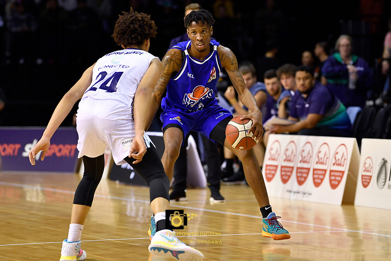 Kerwin Roach of the Wellington Saints dribbles the ball during the NBL match between the Wellington Saints and the Auckland Huskies at TSB Bank Arena, Wellington, New Zealand on Friday 28 May 2021.<br /> Photo by Masanori Udagawa. <br /> www.photowellington.photoshelter.com