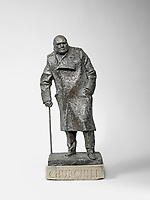 BNPS.co.uk (01202 558833)<br /> Pic: Bonhams/BNPS<br /> <br /> Pictured: The maquette.<br /> <br /> A rare bronze maquette of Sir Winston Churchill's famous statue in Parliament Square is tipped to sell for £80,000. <br /> <br /> The 20ins high bronze model depicting the iconic war time prime minister was one of a limited number produced by sculptor Ivor Roberts-Jones in 1971. <br /> <br /> It is an exact replica of Churchill's 12ft statue which stands outside the Houses of Parliament.