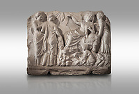 Roman relief sculpture of the Birth of Apollo. Roman 2nd century AD, Hierapolis Theatre.. Hierapolis Archaeology Museum, Turkey. Against a grey background