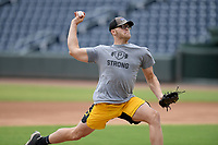 Pittsburgh Pirates minor leaguer Hunter Stratton throws live batting practice on Tuesday, June 16, 2020, at Fluor Field at the West End in Greenville, South Carolina. Team workouts have been shut down during the coronavirus pandemic, so this group began working out in game situation simulations a couple of days a week. Stratton spent last season with Bradenton. (Tom Priddy/Four Seam Images)