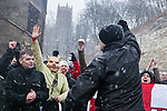 © Joel Goodman - 07973 332324 . 04/02/2012 . Rochdale , UK . The North West Infidels , a Nationalist group splintered from the EDL , protest outside Rochdale Town Hall . Protesters shout nationalist, Islamophobic and anti-Zionist slogans . Photo credit : Joel Goodman