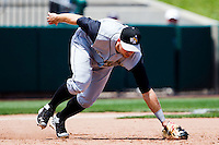 James Darnell (25) of the San Antonio Missions makes a diving stop on a line drive to third base during a game against the Springfield Cardinals on May 30, 2011 at Hammons Field in Springfield, Missouri.  Photo By David Welker/Four Seam Images.