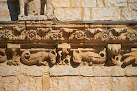 Medieval scuptures of the face of the Papal Basilica of St Francis of Assisi, ( Basilica Papale di San Francesco ) Assisi, Italy