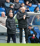 Rangers manager Mark Warburton studying the amount of added on time as Queens claw a goal back