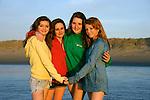 Girlfriends having fun on the beach, Central Coast, California