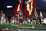 eThe Seminoles take the field prior to the BCS national title game at the Rose Bowl in Pasadena, California on January 6, 2014.   The Florida State Seminoles defeated the Auburn Tiger 34-31 to win the final BCS National Championship.