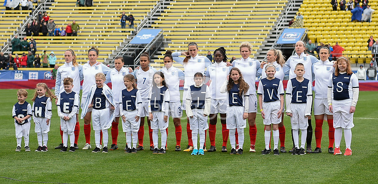 Columbus, Ohio - Thursday March 01, 2018: Starting line up of England during a 2018 SheBelieves Cup match between the women's national teams of the England (ENG) and France (FRA) at MAPFRE Stadium.