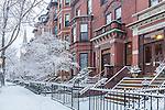 Fresh snow on Marlboro Street in the Back Bay, Boston, Massachusetts, USA