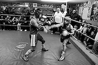 Nikita Sidarchuk (left) fights Andrei Dikov ,during a boxing match for the Jerusalem Championship at the Jerusalem Boxing Club, November 20, 2009.  Located in a bomb shelter, the club has 150 members in which the big majority is Jewish, mostly emigrants from the former Soviet Union , with a minority of Palestinians from East Jerusalem (15 members). Lately the Palestinian boxers decided to open a club in East Jerusalem in order to recruit more Palestinian boxers.