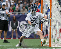 Foxborough, Massachusetts - May 28, 2018: NCAA Division I tournament final. Yale University (white) defeated Duke University (blue/white), 13-11, at Gillette Stadium.<br /> Save.