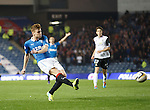 Lewis Macleod lashes the ball home to score for Rangers