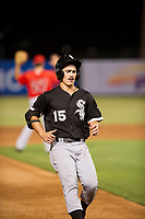 AZL White Sox right fielder JJ Muno (15) pulls up as he approaches third base against the AZL Angels on August 14, 2017 at Diablo Stadium in Tempe, Arizona. AZL Angels defeated the AZL White Sox 3-2. (Zachary Lucy/Four Seam Images)