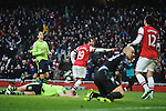 Santi Cazorla of Arsenal scores for 2-0 during the  English Premier League soccer match between Arsenal and Aston Villa in London,UK, 23 February 2013.THOMAS CAMPEAN/Pixel8000 Ltd...