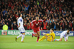 UEFA European Championship at Cardiff City Stadium - Wales v Cyprus : <br />  Hal Robson Kanu celebrates his first half goal for Wales.