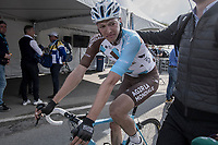 An emotional & dissapointed Oliver Naesen (BEL/AG2R-LaMondiale) can't hold back his teers after finishing having lost all prospects of a good result after being involved in a crash with Peter Sagan up the Oude Kwaremont in the finale of the race<br /> <br /> 101th Ronde Van Vlaanderen 2017 (1.UWT)<br /> 1day race: Antwerp › Oudenaarde - BEL (260km)
