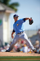 Tampa Bay Rays relief pitcher Jaime Schultz (57) delivers a pitch during a Spring Training game against the Pittsburgh Pirates on March 10, 2017 at LECOM Park in Bradenton, Florida.  Pittsburgh defeated New York 4-1.  (Mike Janes/Four Seam Images)