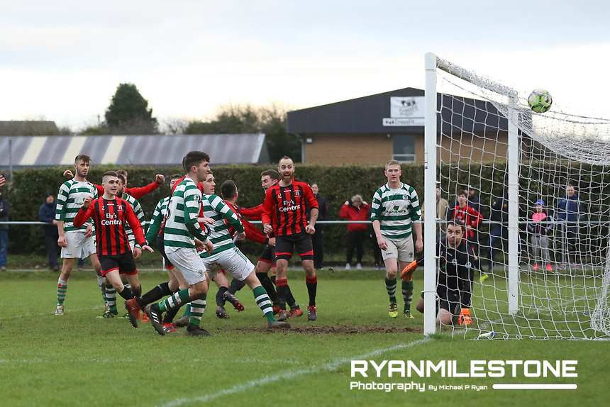 Peake Villa's Aiden McCormack scores the winning goal in extra time during the Munster Junior Cup 4th Round at Tower Grounds, Thurles, Co Tipperary on Sunday 28th January 2018, Photo By: Michael P Ryan