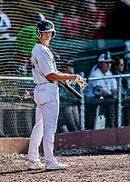 20 June 2021: Vermont Lake Monsters outfielder Sky Rahill, from Burlington, VT, awaits his at-bat on deck during a game against the Westfield Starfires at Centennial Field in Burlington, Vermont. Rahill went 1 for 2 with a walk and a two-run homer in the 8th inning, accounting for all the home team scoring, as the Lake Monsters fell to the Starfires 10-2 at Centennial Field, in Burlington, Vermont. Mandatory Credit: Ed Wolfstein Photo *** RAW (NEF) Image File Available ***
