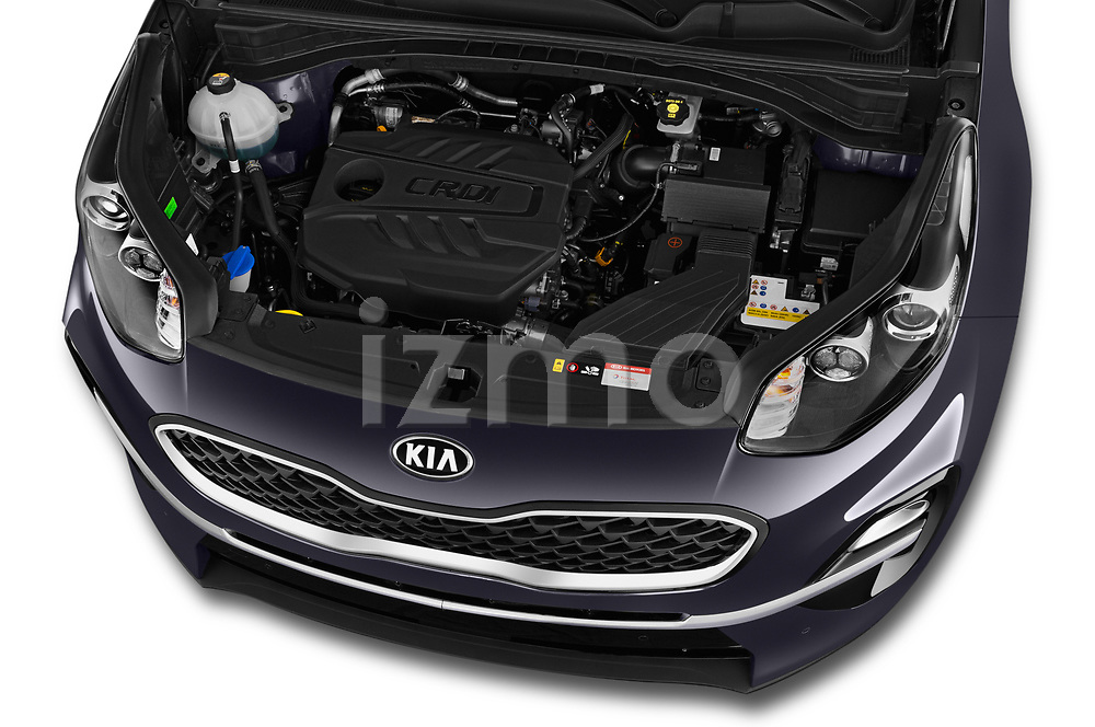 Car stock 2019 KIA Sportage More 5 Door SUV engine high angle detail view