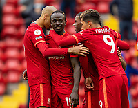 23rd May 2021; Anfield, Liverpool, England; EPL Premier League football, Liverpool versus Crystal Palace:  Liverpool's Sadio Mane  celebrates after scoring the second goal in minute 74 for 2-0 during the Premier League match between Liverpool and Crystal Palace at Anfield