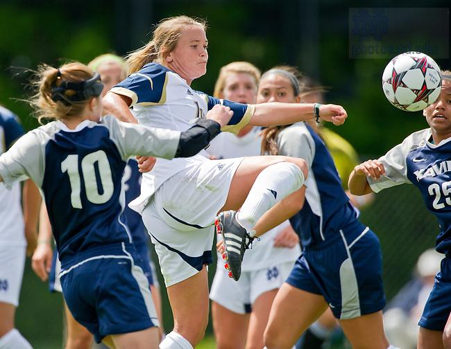Aug. 14, 2013; Women's Soccer pre-season game vs. Xavier. Sammy Scofield (11) scores a goal.<br /> <br /> Photo by Matt Cashore/University of Notre Dame