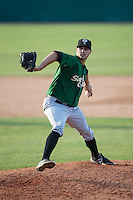 Savannah Sand Gnats relief pitcher Ben Griset (9) in action against the Hickory Crawdads at L.P. Frans Stadium on June 14, 2015 in Hickory, North Carolina.  The Crawdads defeated the Sand Gnats 8-1.  (Brian Westerholt/Four Seam Images)