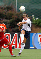 Cat Whitehill eyes her pass. The USA defeated Canada 2-0 at SAS Stadium in Cary, NC on Sunday, July 30, 2006.