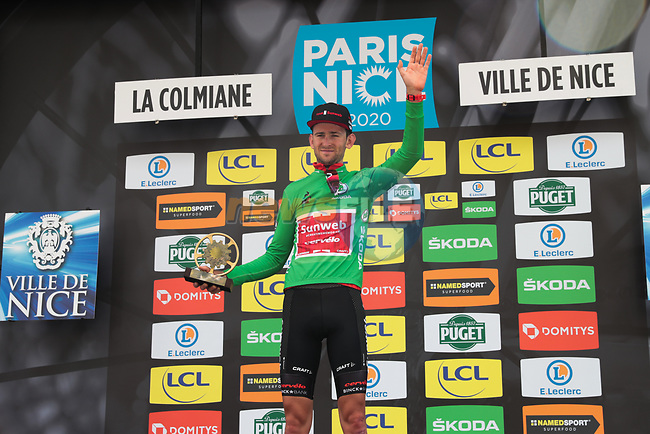 Tiesj Benoot (BEL) Team Sunweb wins the Green Jersey at the end of Stage 7 of the 78th edition of Paris-Nice 2020, running 166.5km from Nice to Valdeblore La Colmiane, France. 14th March 2020.<br /> Picture: ASO/Fabien Boukla | Cyclefile<br /> All photos usage must carry mandatory copyright credit (© Cyclefile | ASO/Fabien Boukla)