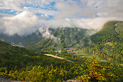 Franconia Notch State Park from Bald Mountain in the White Mountains, New Hampshire on a cloudy day.