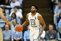 CHAPEL HILL, NC - JANUARY 4: Jeremiah Francis #13 of the University of North Carolina brings the ball up the court during a game between Georgia Tech and North Carolina at Dean E. Smith Center on January 4, 2020 in Chapel Hill, North Carolina.
