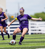 Bella Kieklak (17) of Fayetteville kicks the ball against St Mary's Academy at Wildcat Stadium, Springdale, Arkansas, Friday, May 14, 2021 / Special to NWA Democrat-Gazette/ David Beach