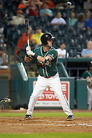 Micah Brown (10) of the Greensboro Grasshoppers at bat against the West Virginia Power at First National Bank Field on June 1, 2018 in Greensboro, North Carolina. The Grasshoppers defeated the Power 10-3. (Brian Westerholt/Four Seam Images)