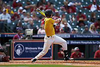 Cameron Swanger (13) of the Missouri Tigers follows through on his swing against the Oklahoma Sooners in game four of the 2020 Shriners Hospitals for Children College Classic at Minute Maid Park on February 29, 2020 in Houston, Texas. The Tigers defeated the Sooners 8-7. (Brian Westerholt/Four Seam Images)