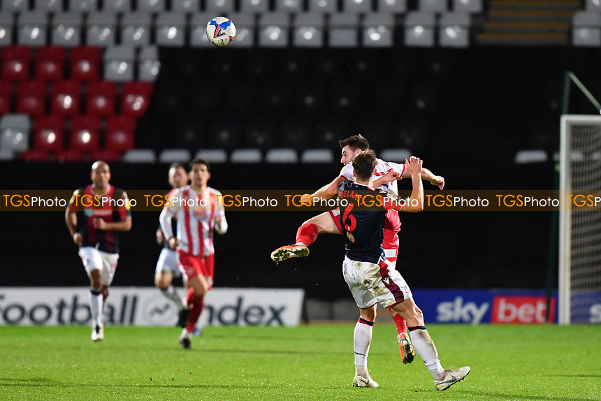 Danny Newton of Stevenage FC heads on during Stevenage vs Bolton Wanderers, Sky Bet EFL League 2 Football at the Lamex Stadium on 21st November 2020