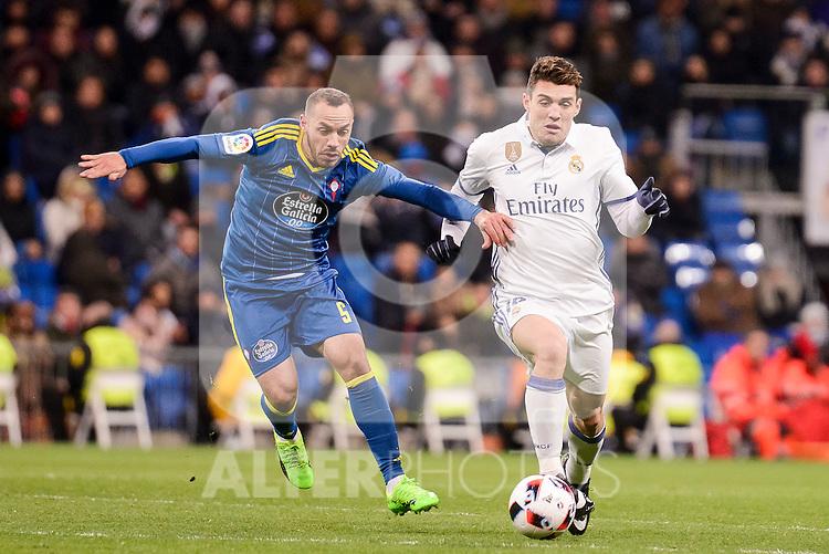 Real Madrid's Mateo Kovacic and Celta de Vigo's Marcelo Diaz during Copa del Rey match between Real Madrid and Celta de Vigo at Santiago Bernabeu Stadium in Madrid, Spain. January 18, 2017. (ALTERPHOTOS/BorjaB.Hojas)