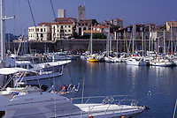 France, Antibes, Cote d' Azur, Provence, Alpes-Maritimes, Europe, Boats docked in Port Vauban Harbor on the Mediterranean Sea in the city of Antibes.
