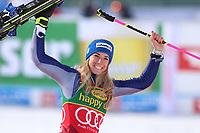 17th October 2020, Rettenbachferner, Soelden, Austria; FIS World Cup Alpine Skiing Womens Downhill; Marta Bassino (ITA) celebrates as she wins the race